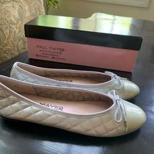 Paul Mayer Womens Candy Black Punched Leather Ballet Flats Patent Toe Shoes Size 5.5 B